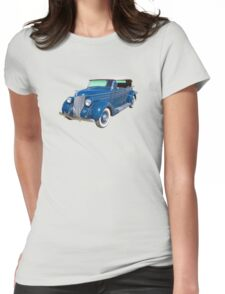 Blue 1936 Ford Phaeton Convertible Antique Car Womens Fitted T-Shirt