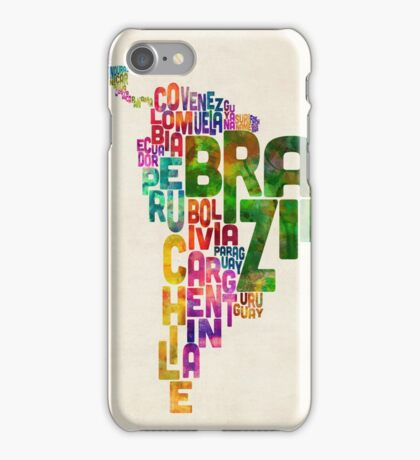 Typography Map of Central and South America iPhone Case/Skin