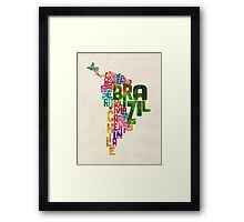 Typography Map of Central and South America Framed Print