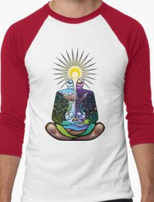 Psychedelic meditating Nature-man Men's Baseball ¾ T-Shirt