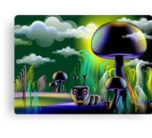 The insect hiding under mushroom	 Canvas Print