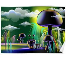 The insect hiding under mushroom Poster
