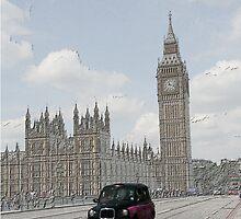 London Cab at Big Ben Sketch by Allen Lucas