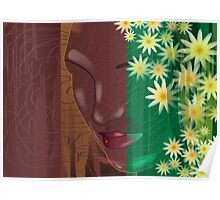 lady shy face covering with flower cloths	 Poster
