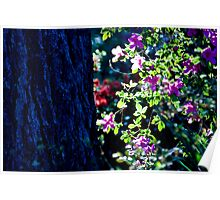 Blue trunk with flowers Poster