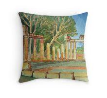 Temple of goddess Artemis in Watercolors Throw Pillow