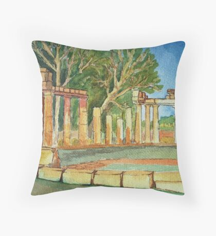Temple of goddess Artemis in Watercolors Throw Pillow
