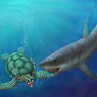 Life Cycle of the Green Sea Turtle - attacked by a shark by Karen  Hull