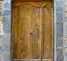 Medieval Wooden Door on Stone Castle, FRANCE by Atanas Bozhikov NASKO