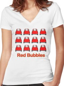Red Bubbles Tee Shirt Women's Fitted V-Neck T-Shirt