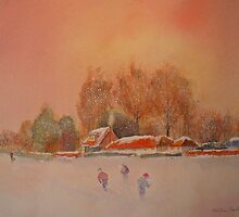 Snow storm on the Marsh - Kent by Beatrice Cloake Pasquier