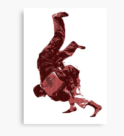 Judo Throw in Gi Red Canvas Print