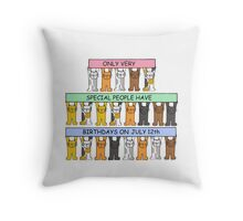 Cats celebrating Birthdays on July 12th. Throw Pillow