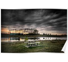 Picnic Table by the Pond Poster