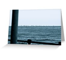 Horde Of Boats At Sea Greeting Card