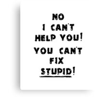 You Cant Fix Stupid Canvas Print