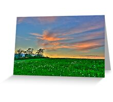 Clouds over a Dandelion Field Greeting Card