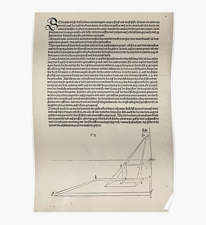 Measurement With Compass Line Leveling Albrecht Dürer or Durer 1525 0174 Repeating and Folding Shapes Perspective Poster