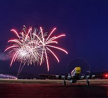Historic WWII Plane with Fireworks by Tracy Friesen