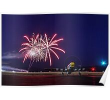 Historic WWII Plane with Fireworks Poster