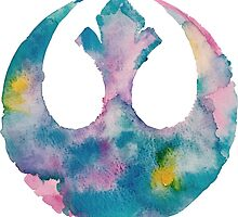 Watercolor Rebel Alliance (white) by PeonyPaints