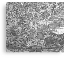 Black and White Disneyland Map Canvas Print