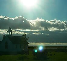 church in bright sun by Matte Downey