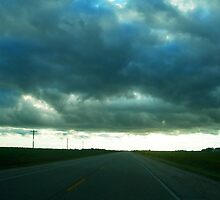 prairie road and low cloud by Matte Downey