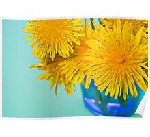 Cheerful Dandelions in Blue Vase Poster