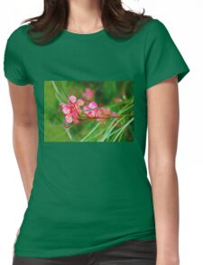 Floral background of grass and red flowers  Womens Fitted T-Shirt