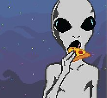 Alien w/ Pizza Slice by emmalizabeth