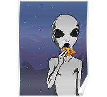 Alien w/ Pizza Slice Poster