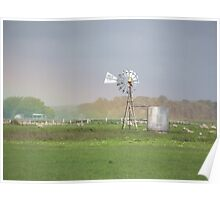 Pot of gold-rainbow over a windmill Poster