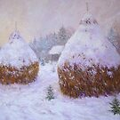 Old haystacks in winter by Julia Lesnichy
