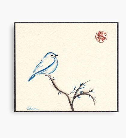 Morning Chirp - original watercolor painting of a little blue bird Canvas Print