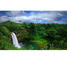 Waterfall With Rainbow in Kauai Photographic Print