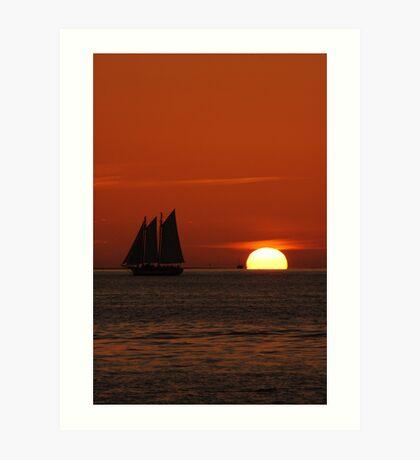 Sunset Schooner in Key West, FL Art Print