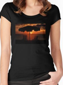 Eagle Beach Sunset Women's Fitted Scoop T-Shirt