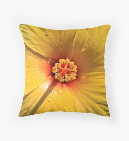Buttery Yellow Hibiscus Throw Pillow