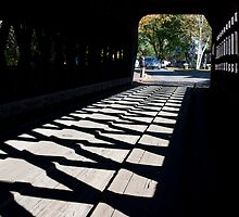 Covered Bridge Cross Hatched Shadows by phil decocco