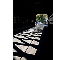 Covered Bridge Cross Hatched Shadows Photographic Print