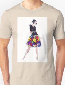 Beautiful sensual woman in fashionable skirt  Unisex T-Shirt