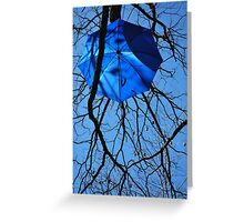 Blue Brollies and Bats Greeting Card
