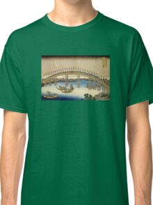 'Tenma Bridge' by Katsushika Hokusai (Reproduction) Classic T-Shirt