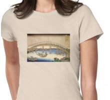 'Tenma Bridge' by Katsushika Hokusai (Reproduction) Womens Fitted T-Shirt