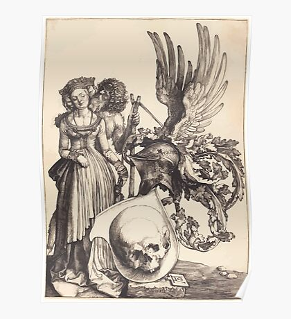 Albrecht Dürer or Durer Coat of Arms with a Skull Poster