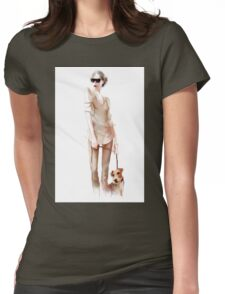 Young  woman with dog Womens Fitted T-Shirt
