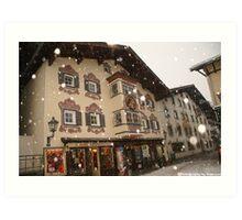 Snowing in St Johan Art Print