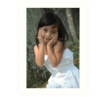 little girl with nice smile expression Art Print