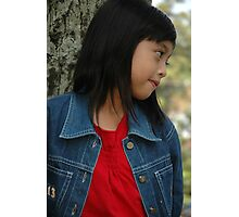 little girl stand up beside the tree Photographic Print